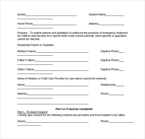 15 School Medical Form Templates to Download for Free Sample Templates - School Medical Form