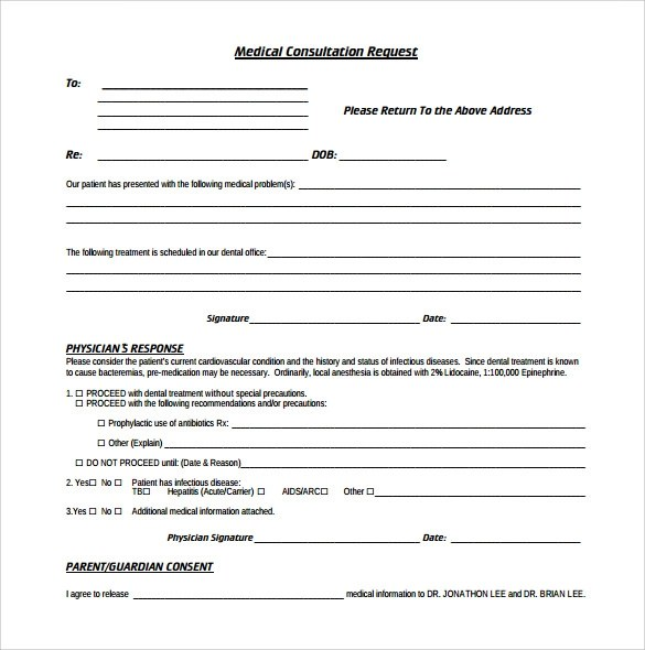 Sample Medical Consultation Form - 11+ Download Free Documents in - free medical form templates