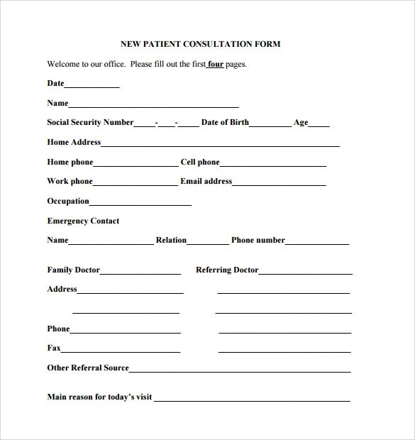 new patient form template - Onwebioinnovate