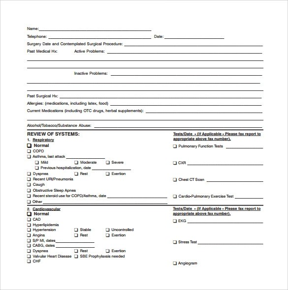 PRE-SURGERY MEDICAL CONSULTATION FORM - Valley Hospitalclient