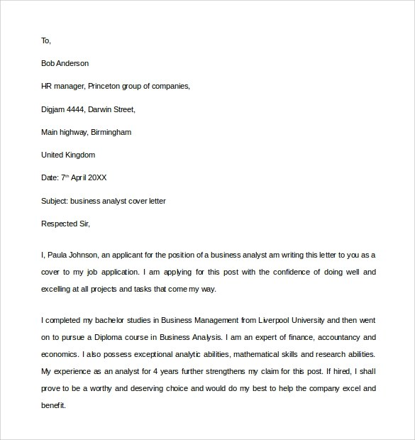 Cover Letter Sample Business Systems Analyst | Resume ...