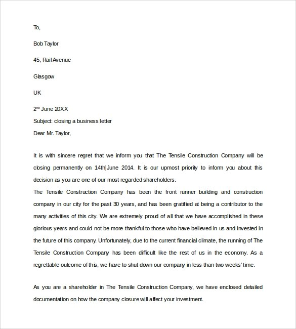 8+ Sample Closing Business Letters Sample Templates - sample business letters