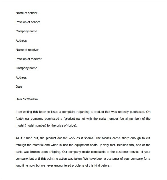 Complaint Letters To Companies Examples – Complaint Letters to Companies