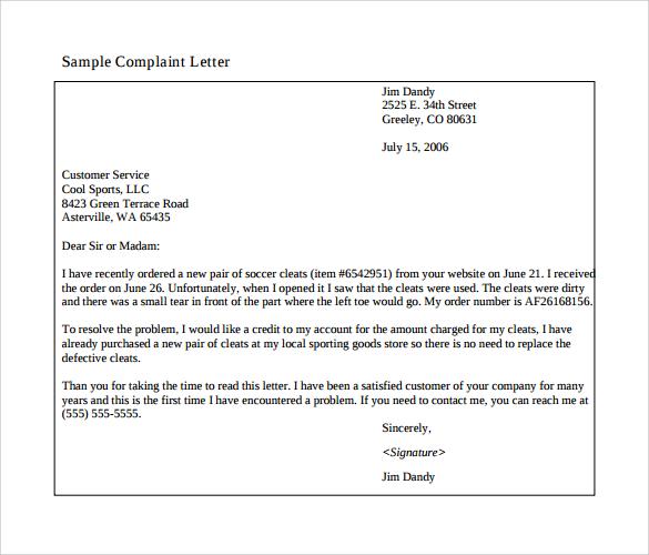 professional complaint letter samplescsat - business complaint letter format