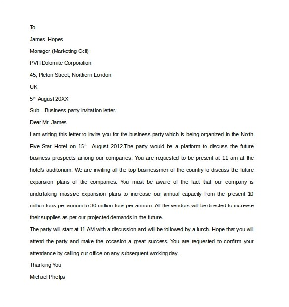 10+ Business Invitation Letter Templates \u2013 PDF, WORD Sample Templates