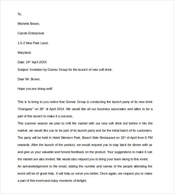 10+ Business Invitation Letter Templates \u2013 PDF, WORD Sample Templates