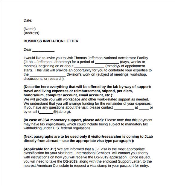 14+ Business Invitation Letter Templates - PDF, WORD