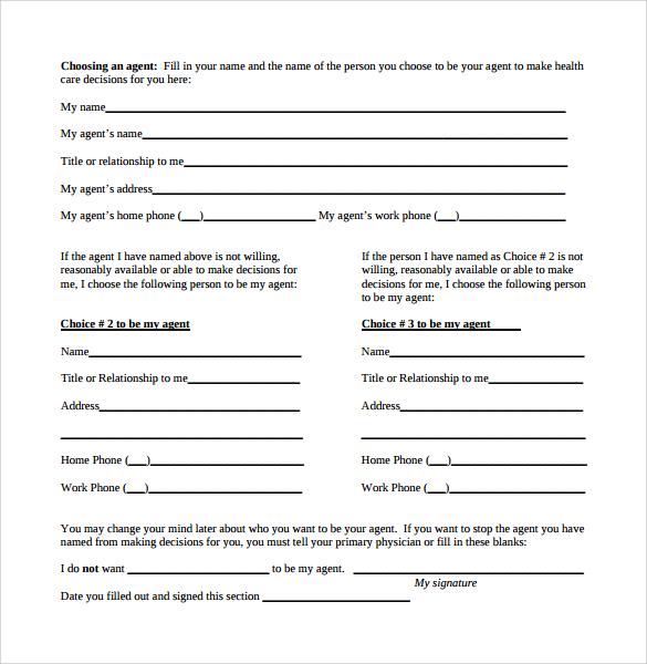 Advance Directive Form Mental Health Advance Directive Florida - sample advance directive form