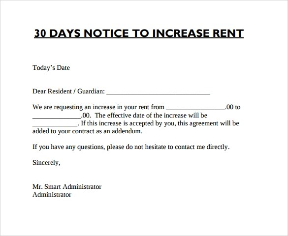 free rent increase letter - Bire1andwap