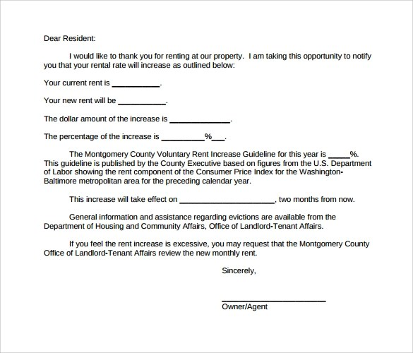 9+ Sample Rent Increase Letter Templates \u2013 PDF, Word Sample Templates - Letter To Rental Office