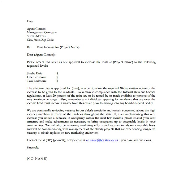 9+ Sample Rent Increase Letter Templates - PDF, Word
