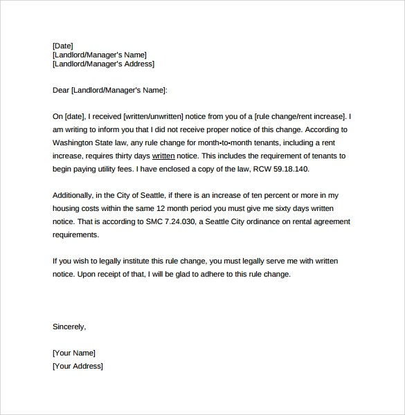 9+ Sample Rent Increase Letter Templates \u2013 PDF, Word Sample Templates