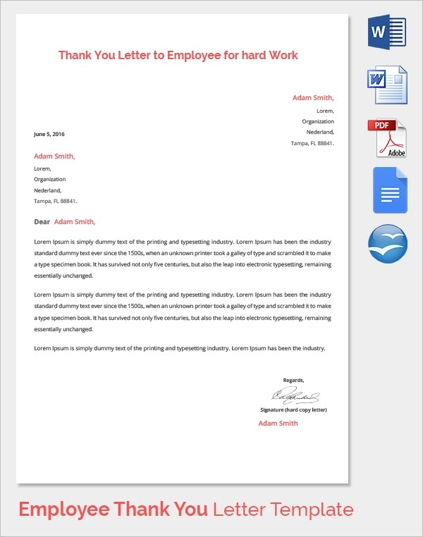 19 Thank You Letters to Employer Sample Templates - thank you letter template