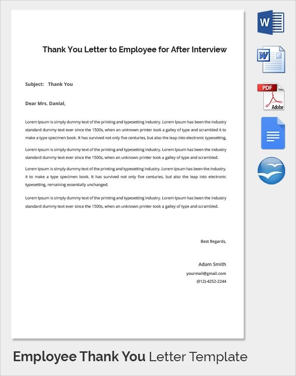 thank you letter for hard work