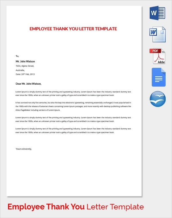 Sample Thank You Letter to Employer - 18+ Download Free Documents - employee thank you letter