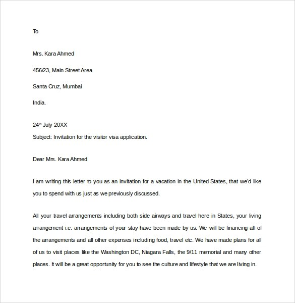 Recommendation Letter Business Visa Sample Letters Of Recommendation Sample Invitation Letter For Us Visa 9 Download Free
