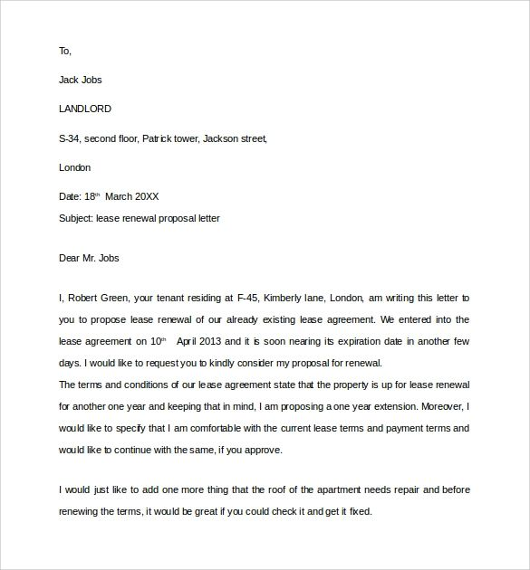 renewal letter to tenant
