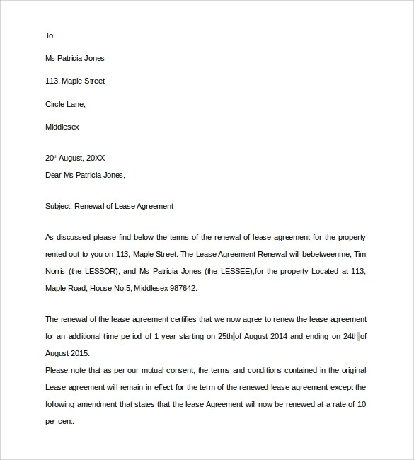 Example Of A Letter Of Agreement Sample Lease Renewal Letter 9 Download Free Documents