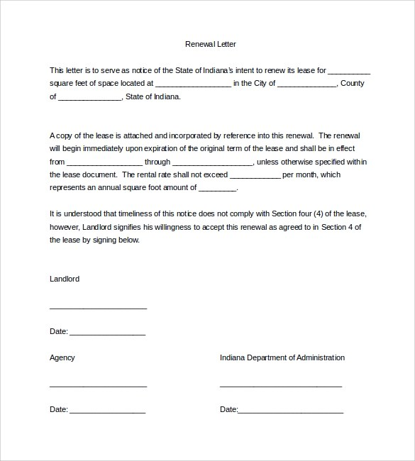 Lease Renewal Letter Require Your Tenants To Give 60 Days Notice - lease renewal form