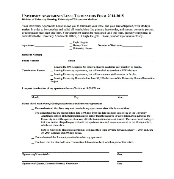 8 Lease Termination Form Templates to Download Sample Templates