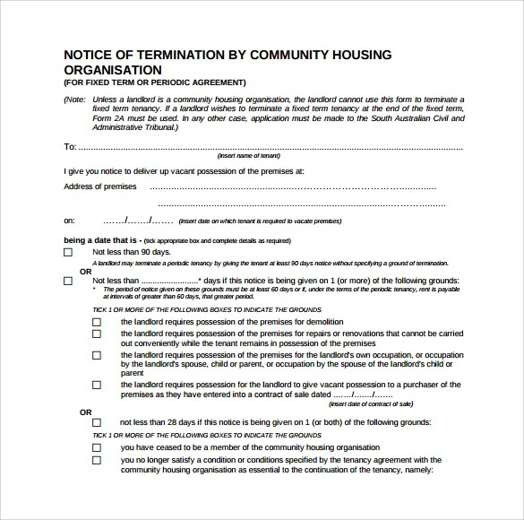 8 Lease Termination Form Templates to Download Sample Templates - free termination form