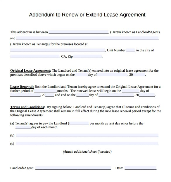 Sample Lease Addendum Form - 14+ Download Free Documents in PDF, Word - lease renewal form