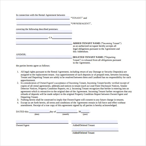 Free Lease Agreement Addendum | Cover Letter For Internship Samples