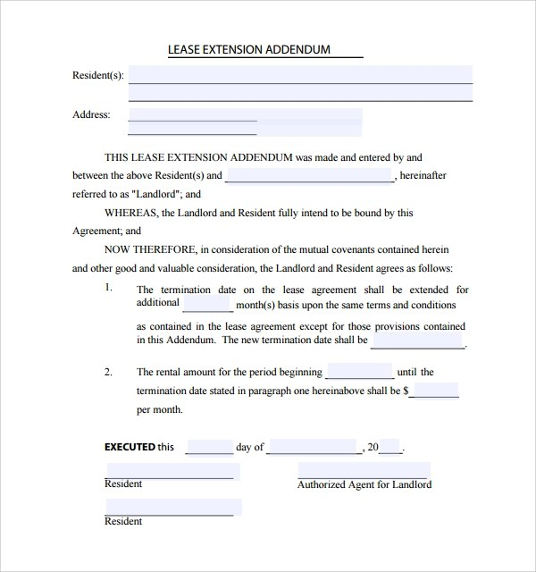 Sample Lease Addendum Form - 14+ Download Free Documents in PDF, Word