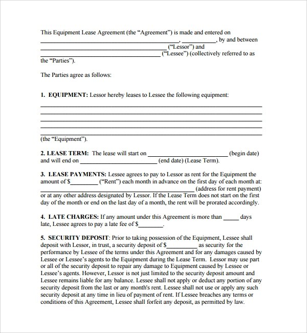 11 Equipment Lease Forms to Download for Free Sample Templates - equipment lease agreement template