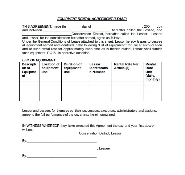 Equipment Lease Form Template  NodeCvresumePaasproviderCom