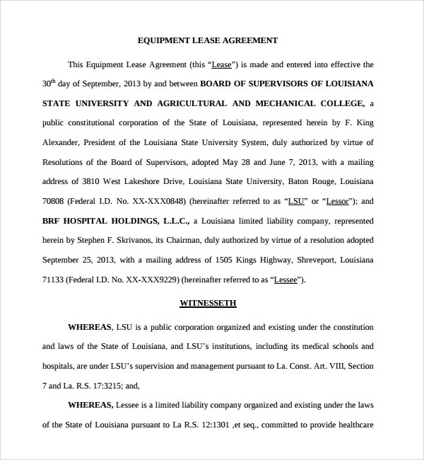 Doc#460595 Equipment Lease Form u2013 Equipment Lease Agreement - equipment rental agreement sample