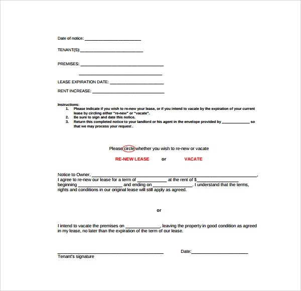 Sample Rental Renewal Form - 10+ Download Free Documents in PDF, Word - lease renewal form