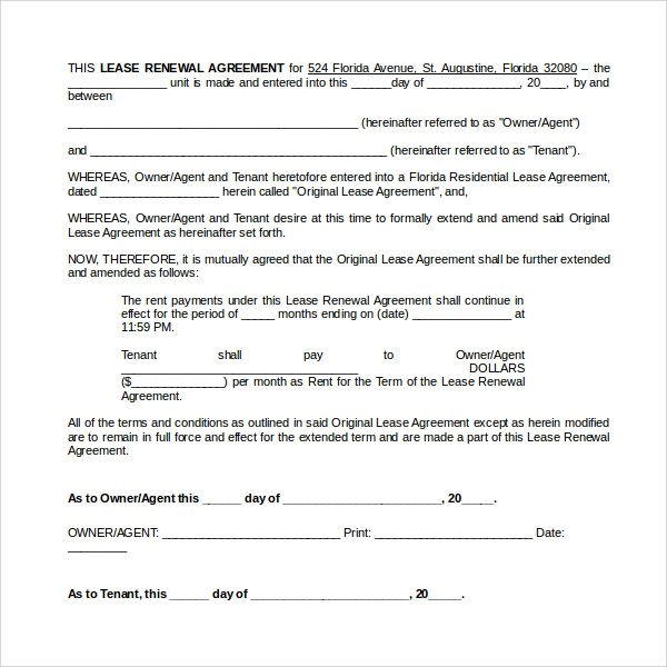 Rental Renewal Form Alberta Commercial Lease Renewal Extension