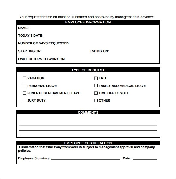 24 Time Off Request Forms to Download Sample Templates - request for time off form