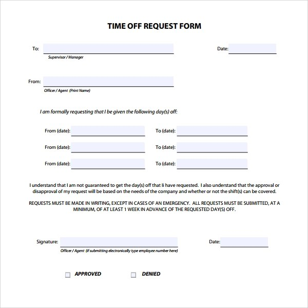 printable time off request form - Onwebioinnovate - time off request form sample