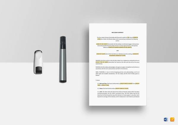 Sample Wedding Contract - 14+ Documents In PDF, Word - dj contract template