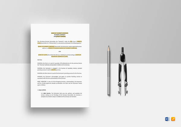 Plumbing Contract Template - 12+ Download Documents in PDF