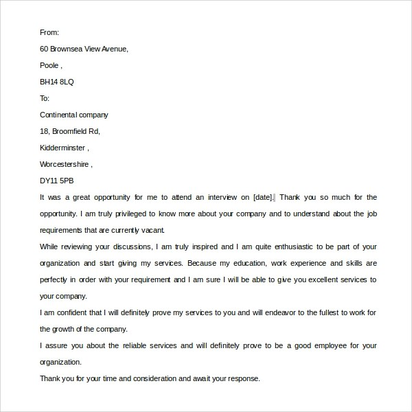 Sample Post Interview Thank You Letter - 9+ Download Free Documents