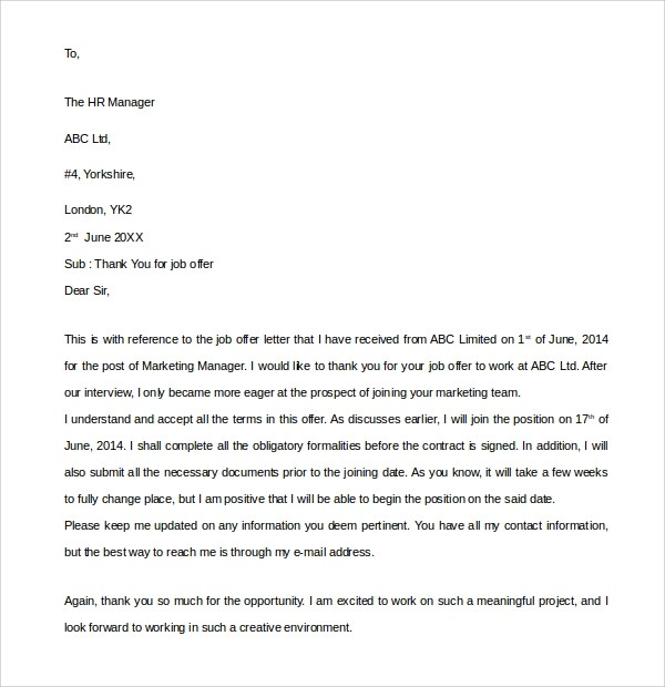 10 Thank You Letters for Job Offer to Download for Free Sample - thank you letter after offer