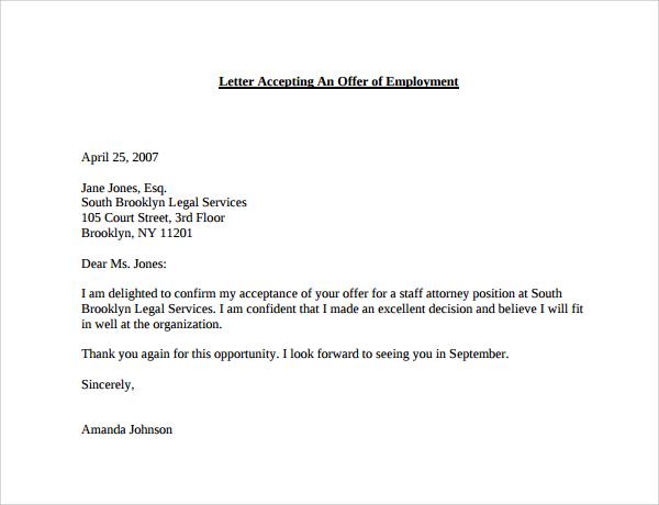 thanks for offer letter