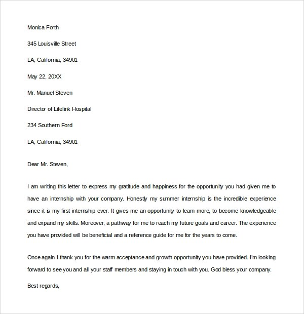 10+ Internship Thank You Letters Sample Templates - thank you for the opportunity to interview