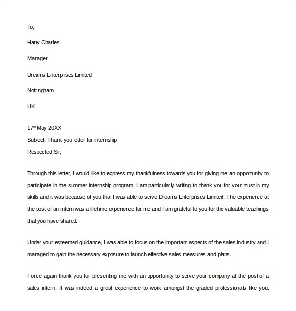 Sample Internship Thank You Letter - 9+ Free Documents in PDF, Word