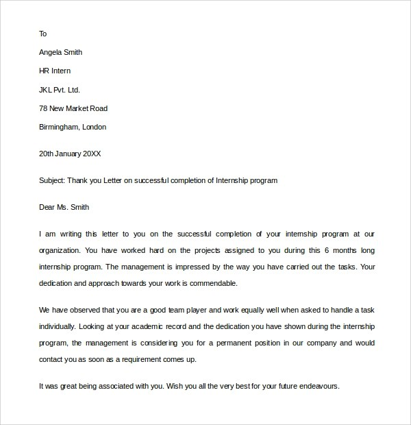 Internship Letter Thank You  Reference Quote Format