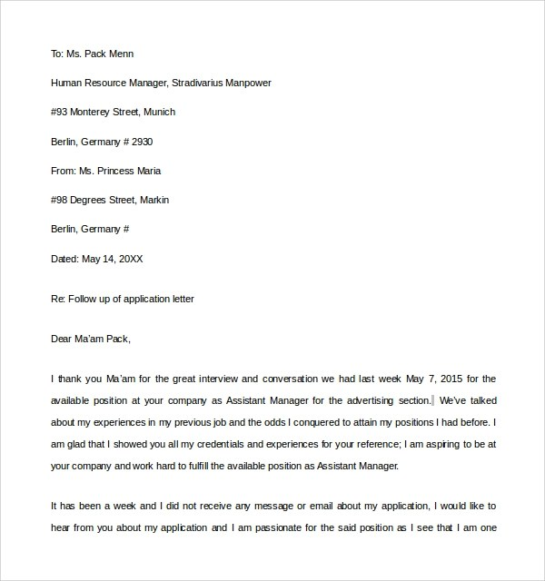 Sample Thank You Letter To Interviewer - 9+ Download FreeThank You - follow up letter sample