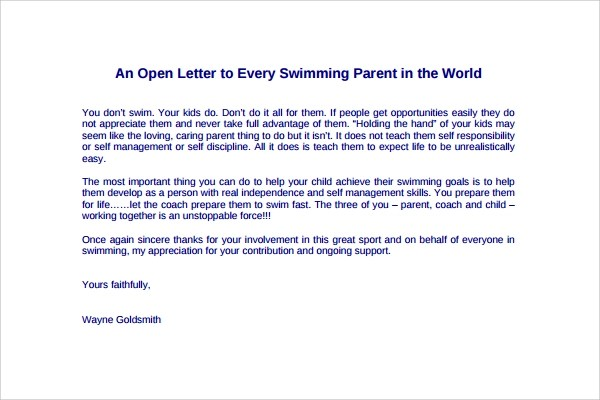 9+ Thank You Letters to Parents Sample Templates - thank you letter to parents
