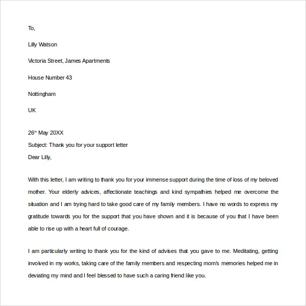 Sample Thank You for Your Support Letter - 9+ Download Free - thank you for your support letter