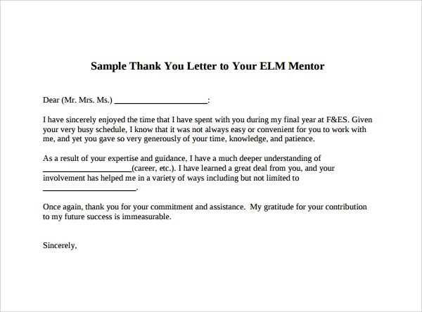 Sample Thank You Letter to Mentor - 11+ Download Free Documents in