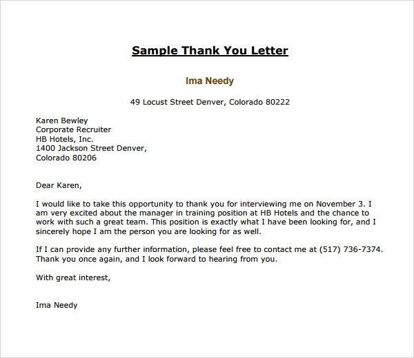 Thank You Letter Post Interview  Resume Sample Tagalog