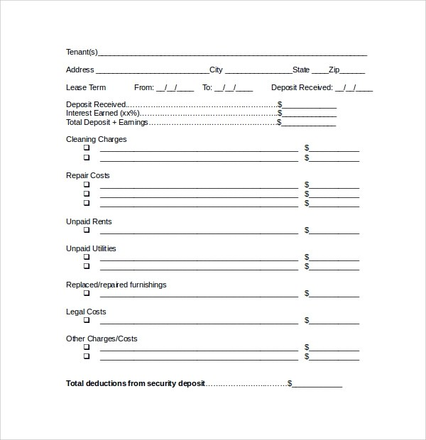 12 Rental Deposit Forms to Download for Free Sample Templates