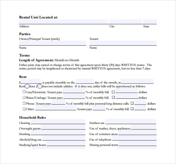 short term rental agreement form
